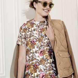 J. Crew Collection Antiqued Floral Silk Wool Top